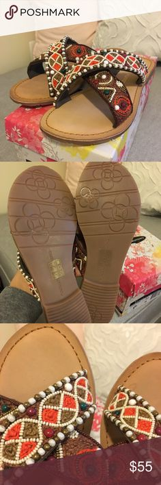 BNIB beaded Sandals BNIB Chinese Laundry beaded slides Chinese Laundry Shoes Sandals