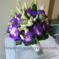 Variegated purple and white lisianthus bridal bouquet.