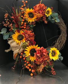 Large Autumn Sunflower Wreath by Andrea Fall Swags, Fall Wreaths, Sunflower Arrangements, Vine Wreath, Autumn Display, Harvest Decorations, Fall Bouquets, Sunflower Wreaths, Wreath Ideas