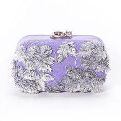 Susan C Star Felt Lilac Transparent Leaves  clutch