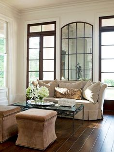 Make a living room feel bigger by adding a large mirror. See more living room inspiration: interior decorating Home Living Room, Living Room Decor, Living Spaces, Living Area, Bedroom Decor, Floor Design, House Design, Living Room Lighting, Room Lights