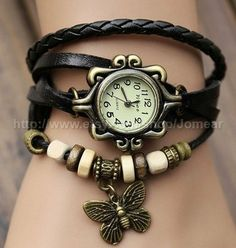 Handmade Vintage Quartz Weave Around Leather Bracelet Lady Woman Wrist Watch With Butterfly Charm Black on Etsy, $9.99