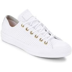 Converse Women's Perforated Leather Unisex Sneakers ($35) ❤ liked on Polyvore featuring shoes, sneakers, white, white platform shoes, white lace up sneakers, leather shoes, white sneakers and converse sneakers