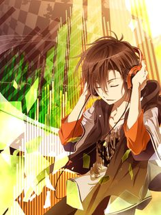 For me, this picture describes how I feel when I listen to music. The world becomes bright and wonderful...plus, there's a REALLY cute guy there. :3