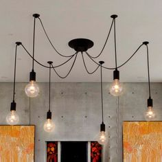 Drop Bulb Pendant with Six Lights in Black