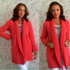 Chrysi Floridou's 789 Media Content And - Diy Crafts - Marecipe Diy Crochet Cardigan, Crochet Jacket, Knit Crochet, Diy Crafts Knitting, Knitted Coat, Coat Patterns, Knit Fashion, Crochet Clothes, Cardigans For Women