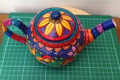 Handpainted Bird Teapot. One off Design £25.00