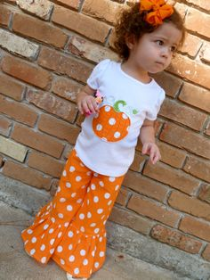 Pumpkin+Applique+Shirt+and+Matching+Ruffle+Pants+by+SugarThumb,+$35.00