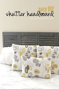 I made this easy DIY Shutter Headboard with some fun shutters memo boards I found online! It was so so simple. :) I love my new headboard! It's actually been up…