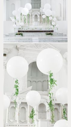 white balloons with touches of greens- elegant balloon wedding ceremony decor ~ we ❤ this! moncheribridals.com