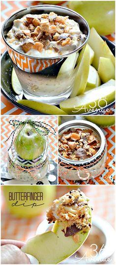 Recipe : Butterfinger Dip ~ Such a yummy treat! Dip Recipes, Fall Recipes, Appetizer Recipes, Snack Recipes, Dessert Recipes, Cooking Recipes, Fruit Appetizers, Dessert Dips, Deserts