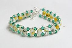 Yellow and green glass beads bracelet by AGoodBead on Etsy, $11.00