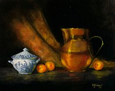 Sugar Bowl and Copper Jug by Valerie Gobeil Oil ~ 16 x 20