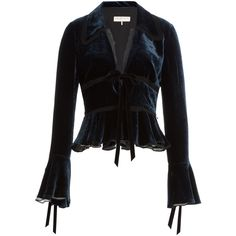 Emilio Pucci Velvet Peplum Jacket ($1,005) found on Polyvore featuring women's fashion, outerwear, jackets, tops, coats, blouses, blue, fitted jacket, blue velvet blazer and blue peplum blazer
