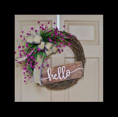 Simple is back and bold! Who needs big and in your face with these purple/Fushia florals and a cute Hello sign waving at you? Spring Front Door Wreaths, Spring Wreaths, Spring Door, Christmas Wreaths, Diy Wreath, Grapevine Wreath, Wreath Ideas, Greenery Wreath, Rustic Wreaths