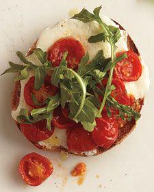 Roasted Tomatoes and Mozzarella Sandwich.