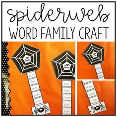Spiderweb Word Families Craft - This is an activity designed to help Kindergarten or 1st grade students practice word families. Students trace or write sight words and then cut and assemble the craftivity. These are perfect for bulletin boards! Sight word webs and word tracing strips for -an, -ap, -at, -ed, -en, -et, -ig, -ip, -it, -og, -op, -ot, -ub, -ug, -un #WordFamilies #Kindergarten #SightWords
