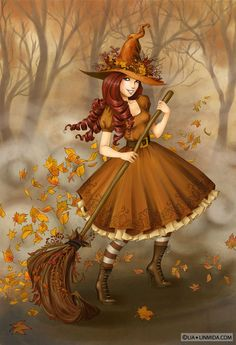 Autumn Witch by LinMida Halloween Pictures, Halloween Art, Vintage Halloween, Happy Halloween, Halloween Illustration, Autumn Witch, Witch Pictures, Beautiful Witch, Kobold