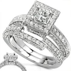 Annello 14k Gold 1 1/4ct TDW Diamond Halo Bridal Ring Set (H-I, I1-I2)   Overstock.com Shopping - Top Rated Annello Bridal Sets
