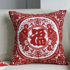 Chinoiserie red throw pillows fish and flowers printed square pillow for couch