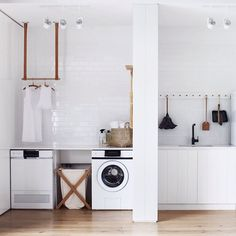 A length of peg rail corrals a few cleaning essentials in the laundry room. See Steal This Look: All-White Laundry Room in Melbourne. Vintage Laundry, Room Design, Laundry Mud Room, Interior Design, Home, Interior, White Laundry Rooms, White Laundry, Room