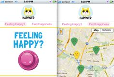 """Worth a shot to remind myself of happy moments? Here's how it works: When users are feeling happy, they navigate to the Happstr mobile site, where they find a huge pink button labeled """"feeling happy?"""" Since they are feeling happy, they push the button. The app asks for explanation for the happiness, but those reasons stay private for now. Other users, which thanks to Twitter already include people from all over the world, just see a happy balloon at that spot on the map."""