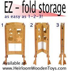 A foldable learning tower! How cool is this?! Perfect for a smaller house or a house where the tower doesn't need to be available all the time, such as a grandparents' house. Pinning to the Montessori board for Montessori at home.
