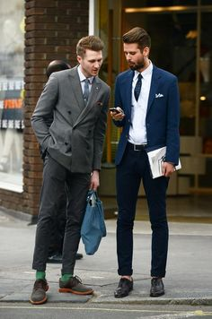 all in the details with these looks -- green socks, pocket squares, tucked in tie and DB jacket // menswear style