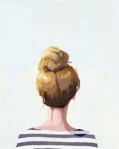 "print for my office? | hair art - bun print - ""Top Knot 18"" giclee print. $20.00, via Etsy."