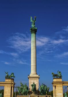Millennium Monument on the Heroes' Square or Hosok Tere by day, Budapest, Hungary Famous Places, Cn Tower, Hungary, Budapest, Travel Photos, Fine Art America, Hero, Wall Art, World