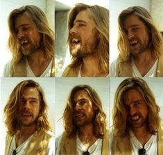 Brad Pitt doing a fang test pre-production for Interview With the Vampire, 1994 Whats your favorite movie with Brad Pitt? Brad Pitt Haarschnitt, Brad Pitt Movies, Anne Rice, Brad And Angelina, Angelina Jolie, Brad Pitt Vampire, Brad Pitt Interview, Vampire Hair, Vampire Teeth