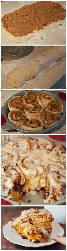 Maple Pecan Cinnamon Rolls - the decadent flavors of cinnamon, brown sugar and rich cream cheese frosting with hints of caramel to create a taste reminiscent of warm, freshly-baked cinnamon rolls. Just Desserts, Delicious Desserts, Dessert Recipes, Yummy Food, Tasty, Pecan Cinnamon Rolls, Cinnamon Bread, Kisses Recipe, Maple Pecan