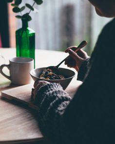 Porridge, chia seeds, blueberries and cinnamon. Perfect breakfast!