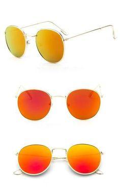 1 Paar hohe Qualität Mens Womens Runde Sonnenbrille Brillen Flash Spiegel Sonnenbrille Gold Metall Blau 50mm Glaslinsen kommen mit Brown Fall