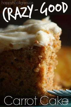 Crazy-Good Carrot Cake: this cake is moist and out-of-this-world delicious, and it's so easy to make!  You make it in a 9x13 pan so it's great for home, but big enough to take to a potluck or family gathering.  Everyone LOVES. THIS. CAKE. - Happy Hooligans