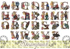 Steampunk Alphabet by praetor-FEMI on DeviantArt Letter Art, Letters, Typography Alphabet, Alice In Wonderland Party, Colored Pencils, Steampunk, Clip Art, Deviantart, Artist