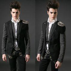 Men Black Epaulet Punk Rock Hipster Goth Fashion Casual Suit Jacket SKU-11401475