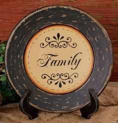 Rustic Country Primitive Scrolled Family Decorative Plate Cabin Shelf Decor…