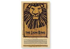 """LION KING  Broadway Poster - Heavy show card stock. 14"""" x 22""""."""
