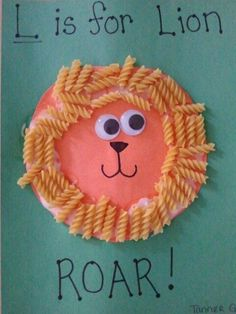 L is for Lion (rotini or egg noodle pasta)