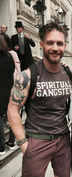 Tom Hardy- love the shirt.