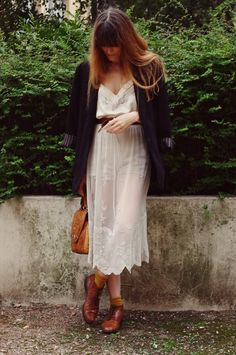 Lace toughened up with brogues and a blazer. Paris based fashion blogger Lady Moriarty.