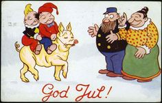 Antique Comic Christmas Postcard ... c1930s. God Jul.