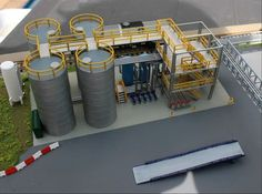 N Scale Chemical Storage Installation printed almost finished model. Crossover stairs, sand filter, forklift ramp, pipe bridges, cryogenic vaporizer etc available separately. Escala Ho, Train Ho, Railroad Industry, Model Training, Modelista, Ho Trains, N Scale, Model Train Layouts, 3d Prints