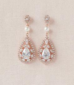 Rose Gold Bridal Earrings Crystal Wedding by CrystalAvenues