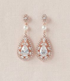 Rose Gold Earrings Crystal Wedding earrings by CrystalAvenues