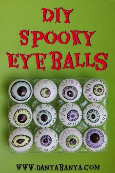 Cool DIY Spooky Eyeballs for non-food treats for Halloween ~ Danya Banya