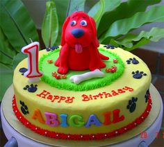 Clifford The Big Red Dog by specialcakes/tracey, via Flickr Cookie Cake Birthday, Birthday Desserts, Cupcake Cookies, Cupcake Art, Birthday Cakes, Baby 1st Birthday, 3rd Birthday Parties, Birthday Ideas, Fancy Cakes