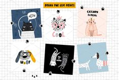 Ad: Cats&Dogs graphic collection by solmariart on Absolutely stanning graphic collection with funny and creative cats and dogs! Graphic Patterns, Cool Patterns, Cute Cats And Dogs, Baby Shower Cards, Bullet Journal Inspiration, Surface Pattern Design, Vector Pattern, Design Bundles, Background Patterns