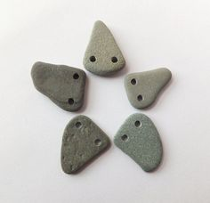 Double Drilled Beach Pebble Beads  Set of 5  by PlymouthRocks, $6.10